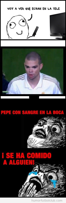 Viñeta de fútbol graciosa, Pepe con sangre en la cabeza