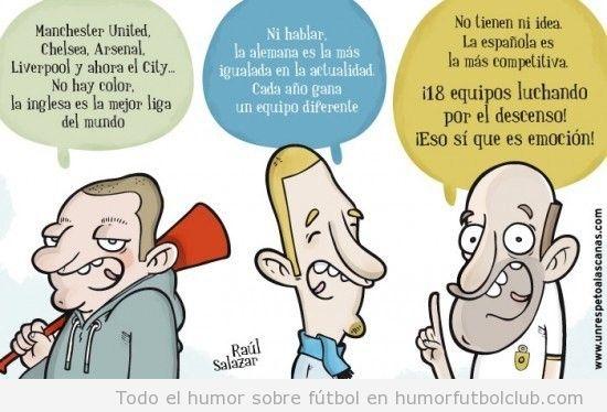 Viñeta graciosa sobre lo igualada que está la liga española, 18 equipos luchan por no descender