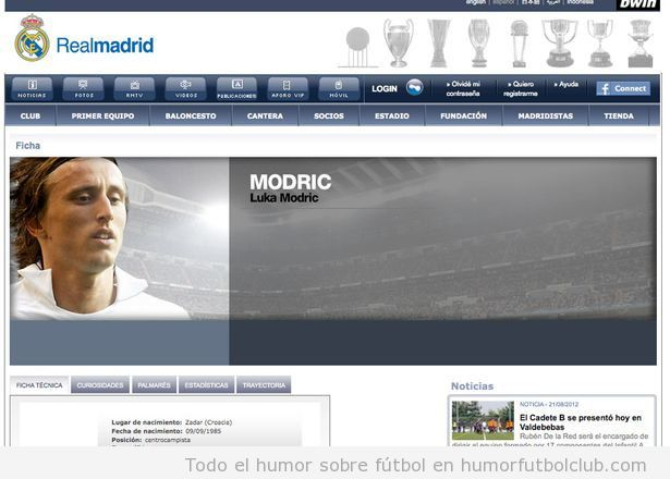 Luka Modric en un perfil de l Web del Real Madrid