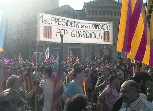 Cartel, Pep Guardiola primer president de la transició, manifestación diada Catalunya