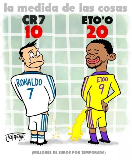 Viñeta graciosa de Cristiano Ronaldo  y Eto'o haciendo pipi