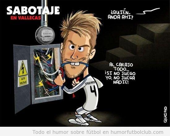 Viñeta divertida de Serio Ramos cortando  los cables del estadio del Rayo Vallecano