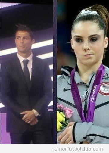 Foto graciosa de Cristiano Ronaldo con la misma cara de Mckayla Maroney tras no ganas mejor jugador europa 2012