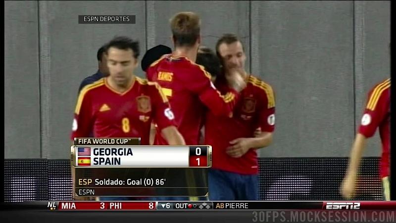 Fail de la televisión al poner mal la bandera de Georgia versus España