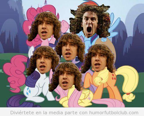 Montaje gracioso con la cabeza de Puyol en My Little Pony