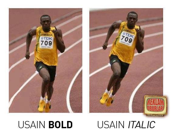 Meme de Isain Bold, Usain Italic