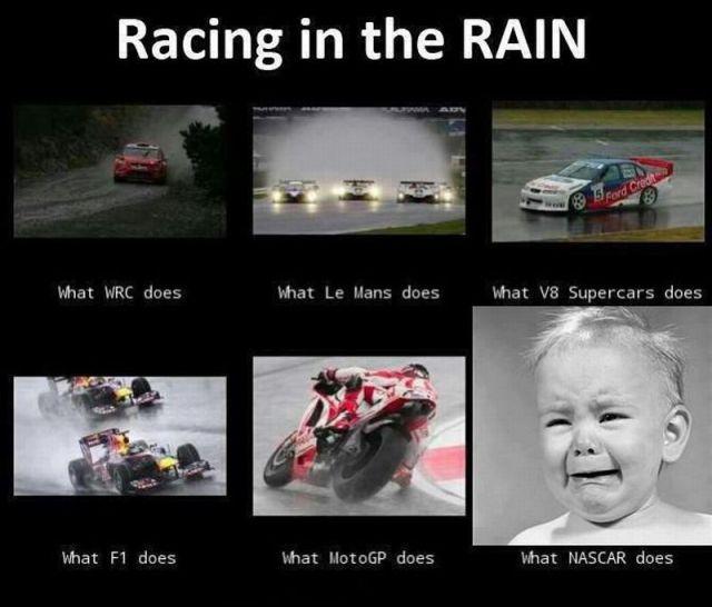 Foto graciosa Corriendo bajo la lluvia, Formula 1, Nascar