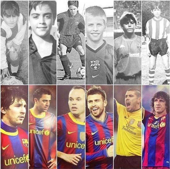 Fotos de Messi, Xavi, Iniesta, Piqué, Valdés y Puyol de niños