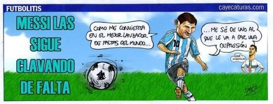 Viñeta de fútbol graciosa con Messi como mejor lanzador faltas, Cristiano Ronaldo depresión