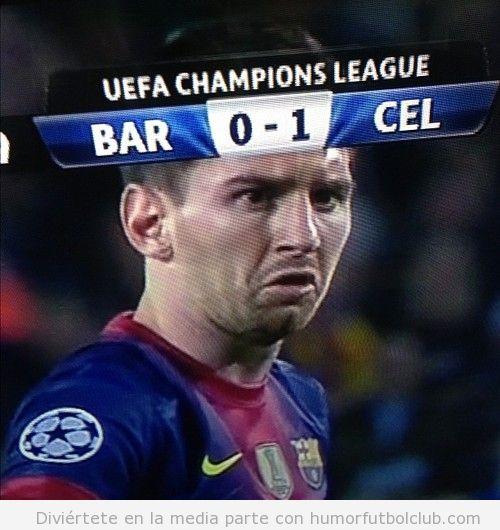 Cara graciosa de meme de Messi en el gol del Celtic ante el Barça