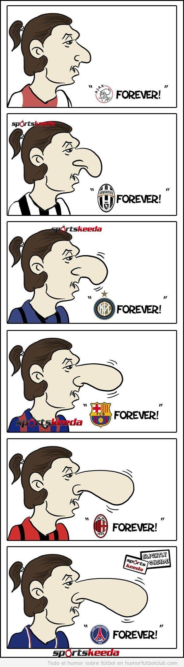 Viñeta de fútbol graciosa sobre pro qué la nariz de Ibrahimovic es tan grande