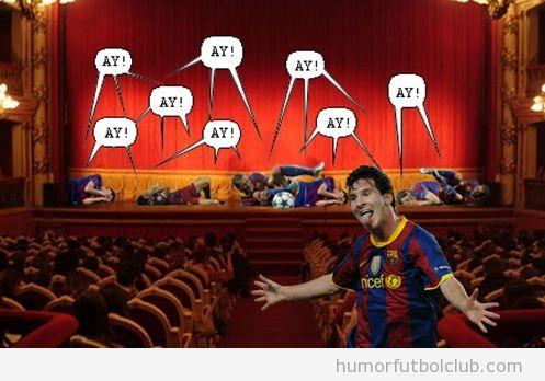 Foto graciosa de los futbolistas del Barça en un teatro