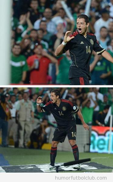 Foto divertida Javier Hernandez partido Mexio El Salvador celebrando un gol