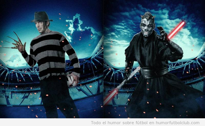 Gigi Buffon y Paul Pogba disfrazados para Halloween de Freddie Crugger en Halloween