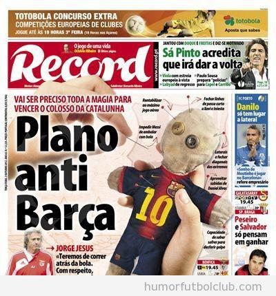 Portada del diario Record con un muñeco de budú anti Baça Benfica