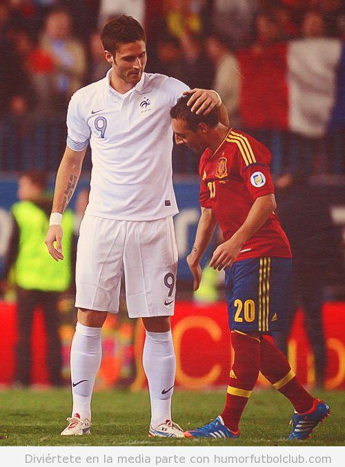 Diferencia de altura entre Cazorla y Giroud en España Francia