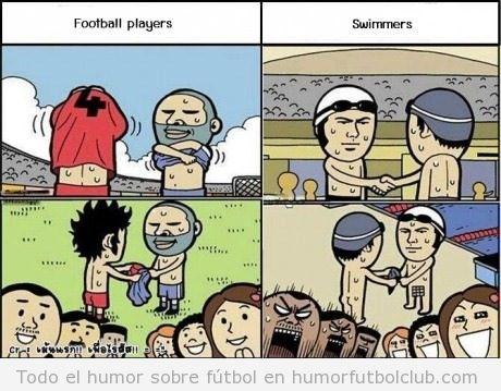 Viñeta graciosa de diferencia entre futbolistas y nadadores después carrera
