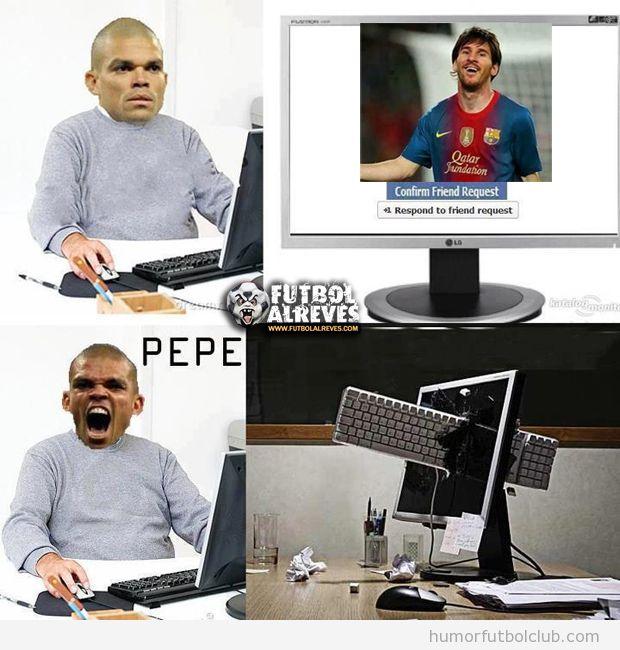 Imagen graciosa de Pepe cuando recibe una solicitud de amistad de Messi en Facebook
