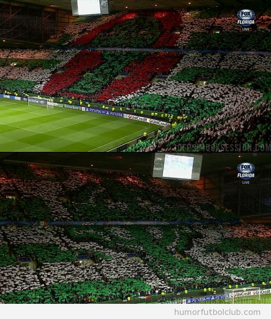 Bonito mosaico en las gradas del Celtic ante el Barça en Champions League
