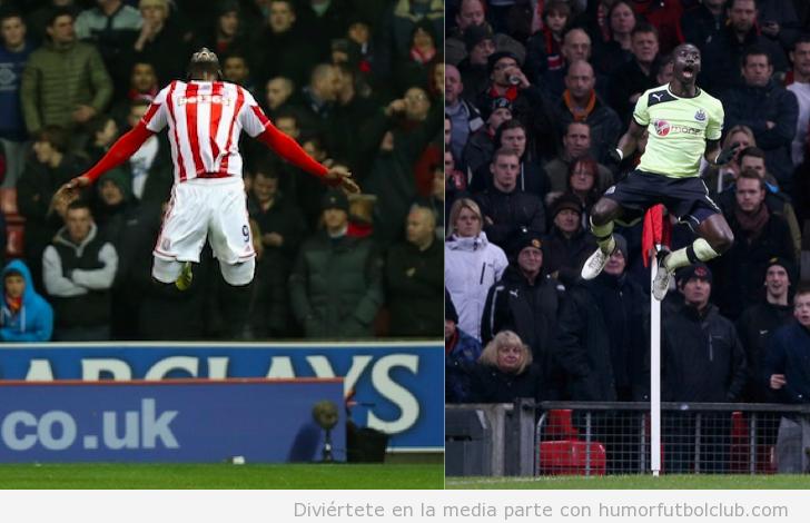 Imágenes divertidas de las celebraciones de gol con saltos de Papiss Cisse y Kenwyne Jones