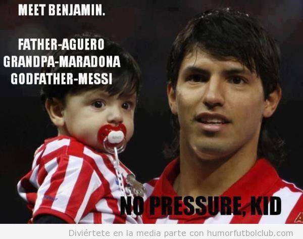 Benjamin es hijo del Kun, su abuelo es Maradona y su padrino es Messi