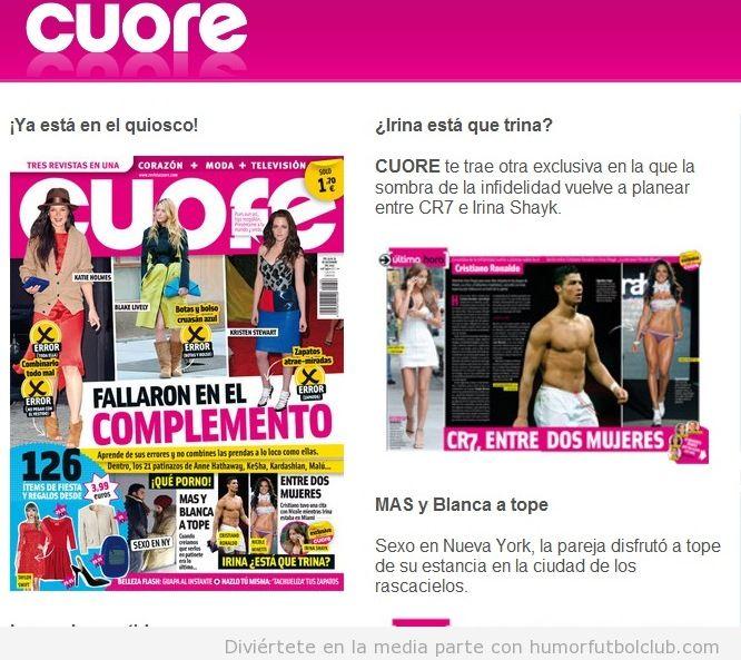 Revista Cuore, Cristiano Ronaldo entre dos mujeres