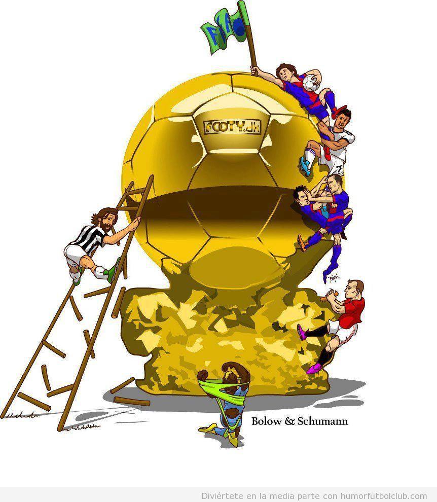 Viñeta graciosa de los aspirantes al balón de oro 2012