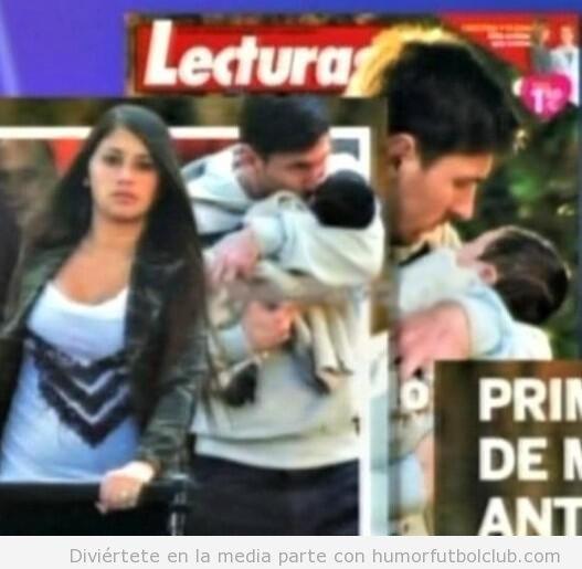 Foto de Messi con su hijo Thiago en brazos y dándole un beso