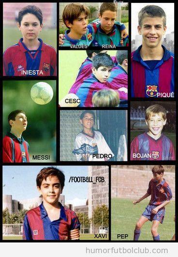 Fotos de Xavi, Iniesta, Reina, Valdés, Piqué, Messi e Iniesta en La Masía cuando eran niños