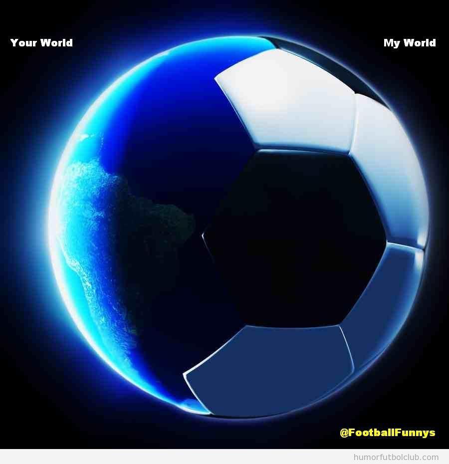 Díbujo mitad planeta tierra, mitad balón de fútbol