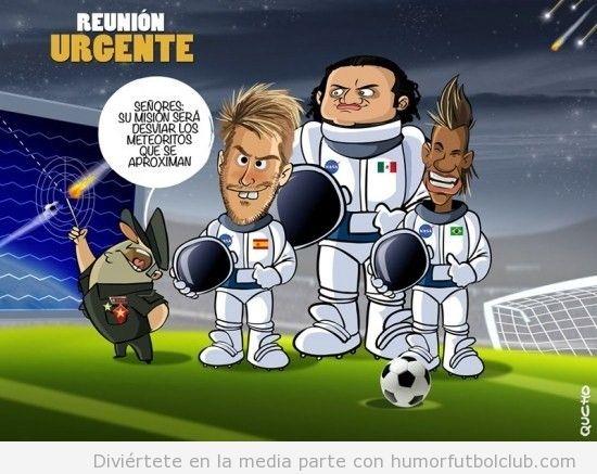 Viñeta divertida de fútbol, Ramos, Neymar y Reynoso desvian el meteorito del fin del mundo