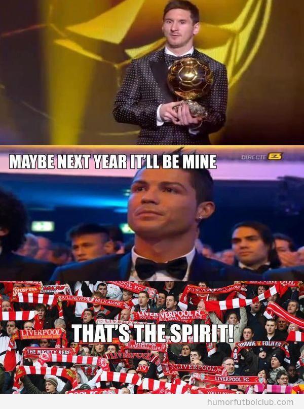 Foto de la cara de esperanza de Cristiano Ronaldo cuando Messi recoge Balón Oro 2012