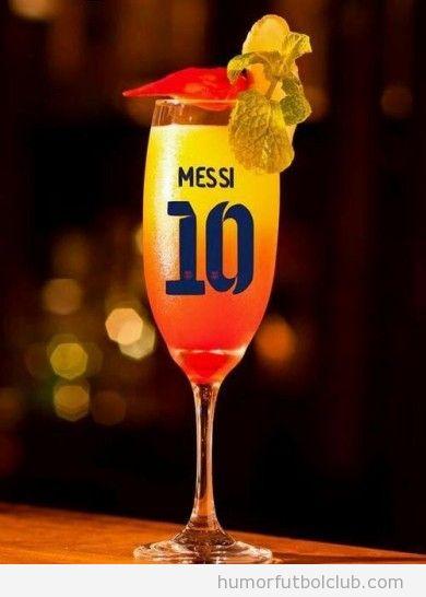 Cocktail de Leo Messi con Tequila Sunrise,parecido a camiseta del Barça