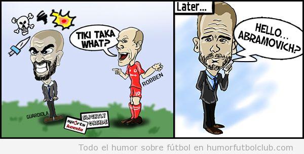 Viñeta graciosa de Robben y Guardiola