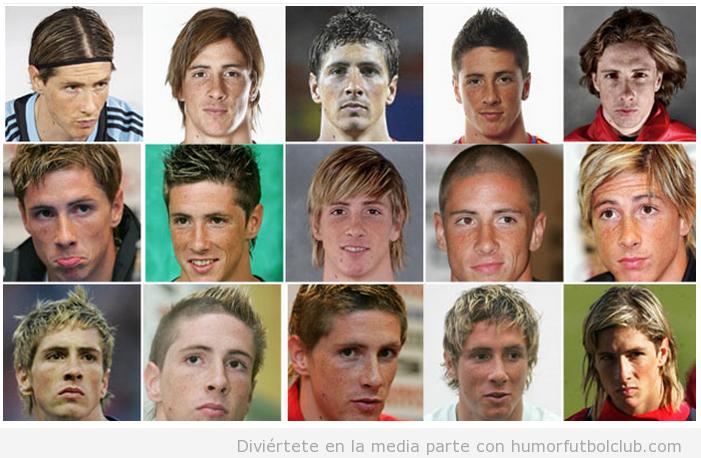 Diferentes peinados y cortes de pelo de Fernando Torres a lo largo de los años
