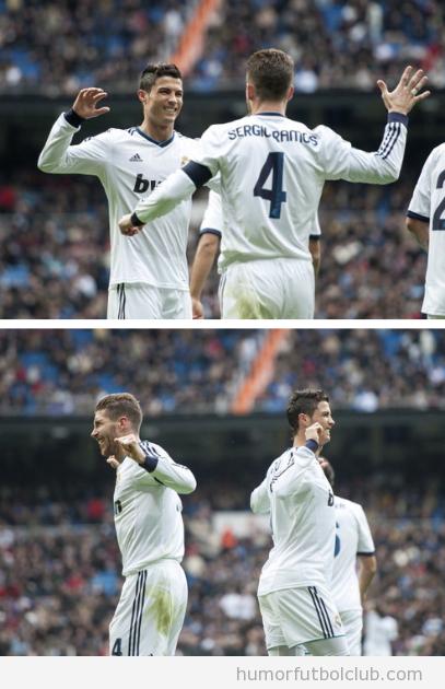 Imagen graciosa del nuevo saludo choque de manos entre Ramos y Cristiano Ronaldo