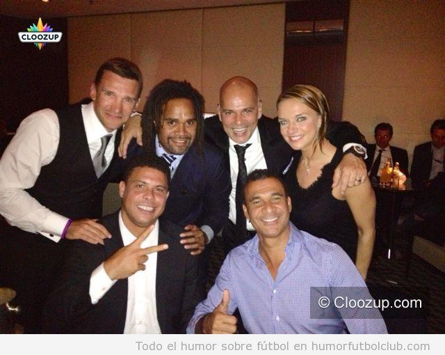 Foto Fiesta Balón Oro 2012 con Ronaldo, Karembey, Gullit y Shevchenko