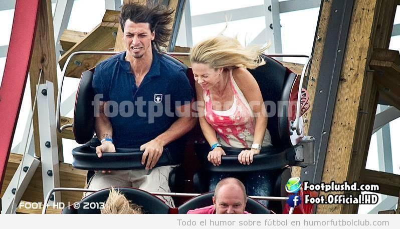 Foto graciosa de Zlatan Ibrahimovic y su mujer en una montaña rusa parque atracciones