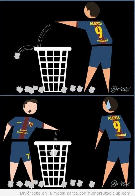 Viñeta graciosa Barça, Alexis falla y Villa mete gol