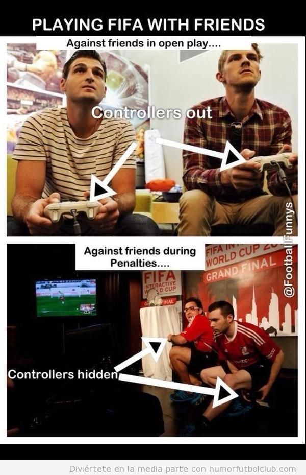 Meme gracioso de dos chicos jugando al FIFA13, esconden el mando en penalties