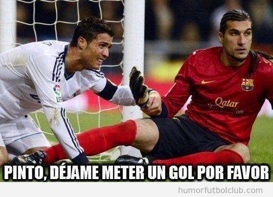 Meme gracioso de Cristiano Ronaldo y Pinto en Copa Rey