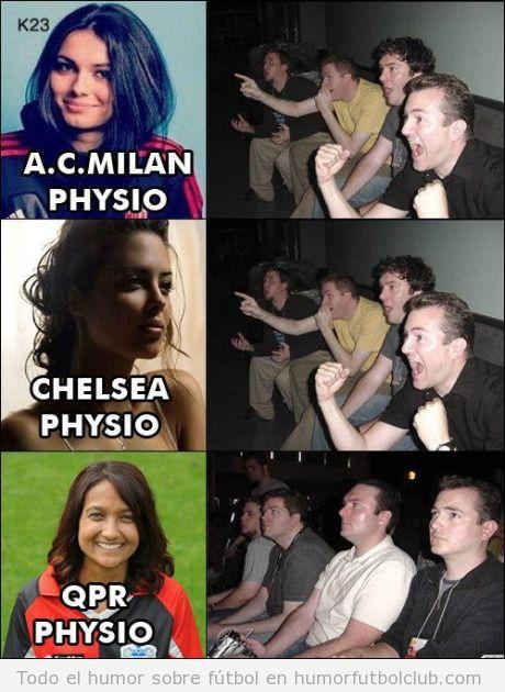 Meme gracioso de la reacción de aficionados con fisioterapeutas del Milan y del Chelsea guapas