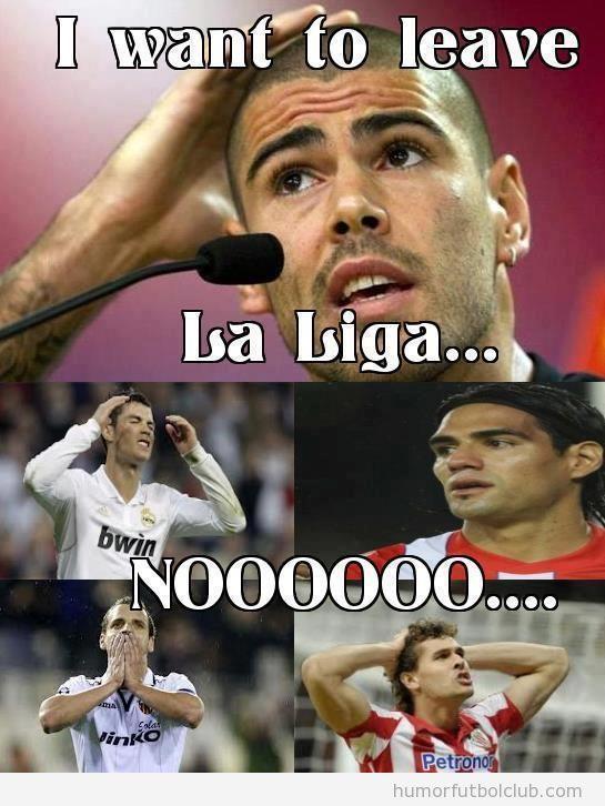 Meme gracioso de Valdés diciendo que deja la Liga Española