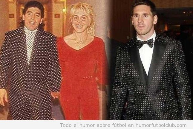 Esmoquin de lunares de Messi es igual que un traje que llevó Maradona en los años 90