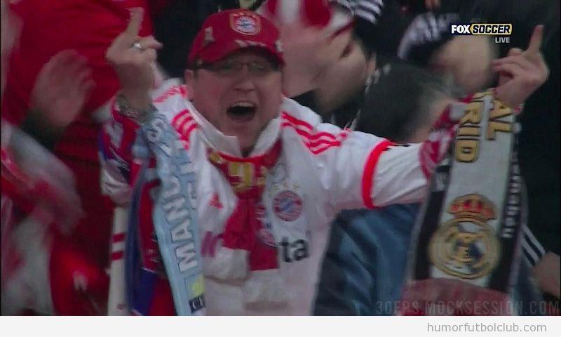 Aficionado del Bayern de Munich hace doble churro al Arsenal