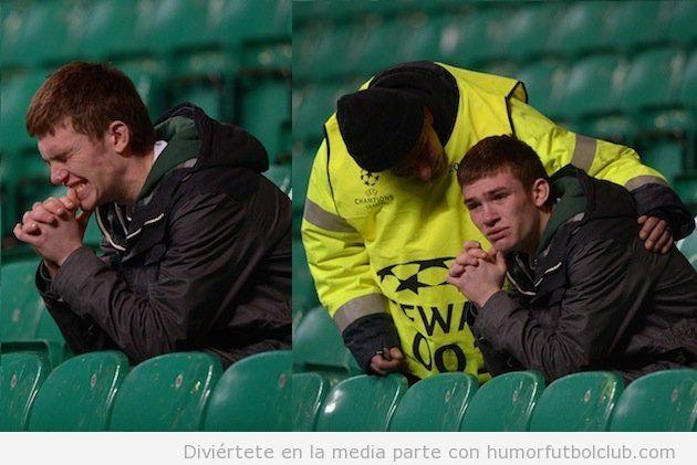 Foto curiosa y bonita de un agente de seguridad consolando a un aficionado del Celtic