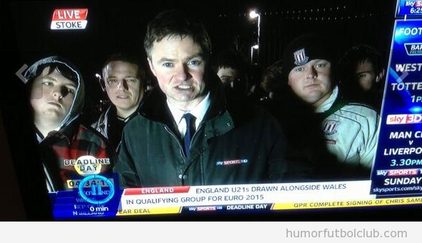 Foto de aficionados del Stoke City Football Club dando miedo
