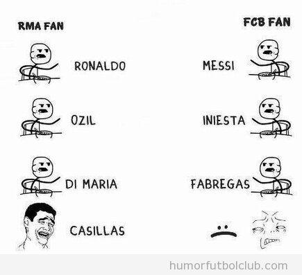 Meme gracioso, aficionados del Madrid vs Aficionados del Barça
