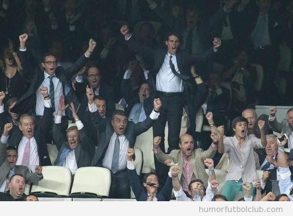 Rafa nadal celebrando el gol de Cristiano Ronaldo en el BArça Real Madrid Copa Rey