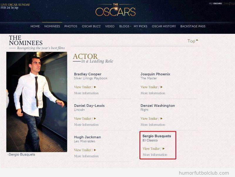 Web de los Oscar, Sergio Bsuquets nominado Mejor Actor